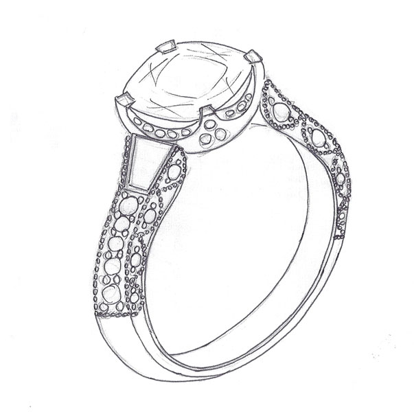 Diamond Ring Drawing Simple